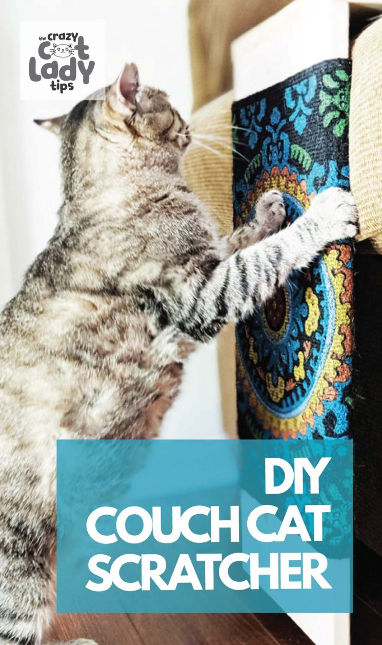 need to put my thinking cap on and come up with a custom cat scratcher for the couch. He needed something soft, apparently his paws didn't like the traditional sisal you find on other scratchers. Plus I liked the idea of getting something that would match perfectly with my furniture. Here is a look at our DIY Cat Scratcher for the Couch. #catdiy #catscratcher