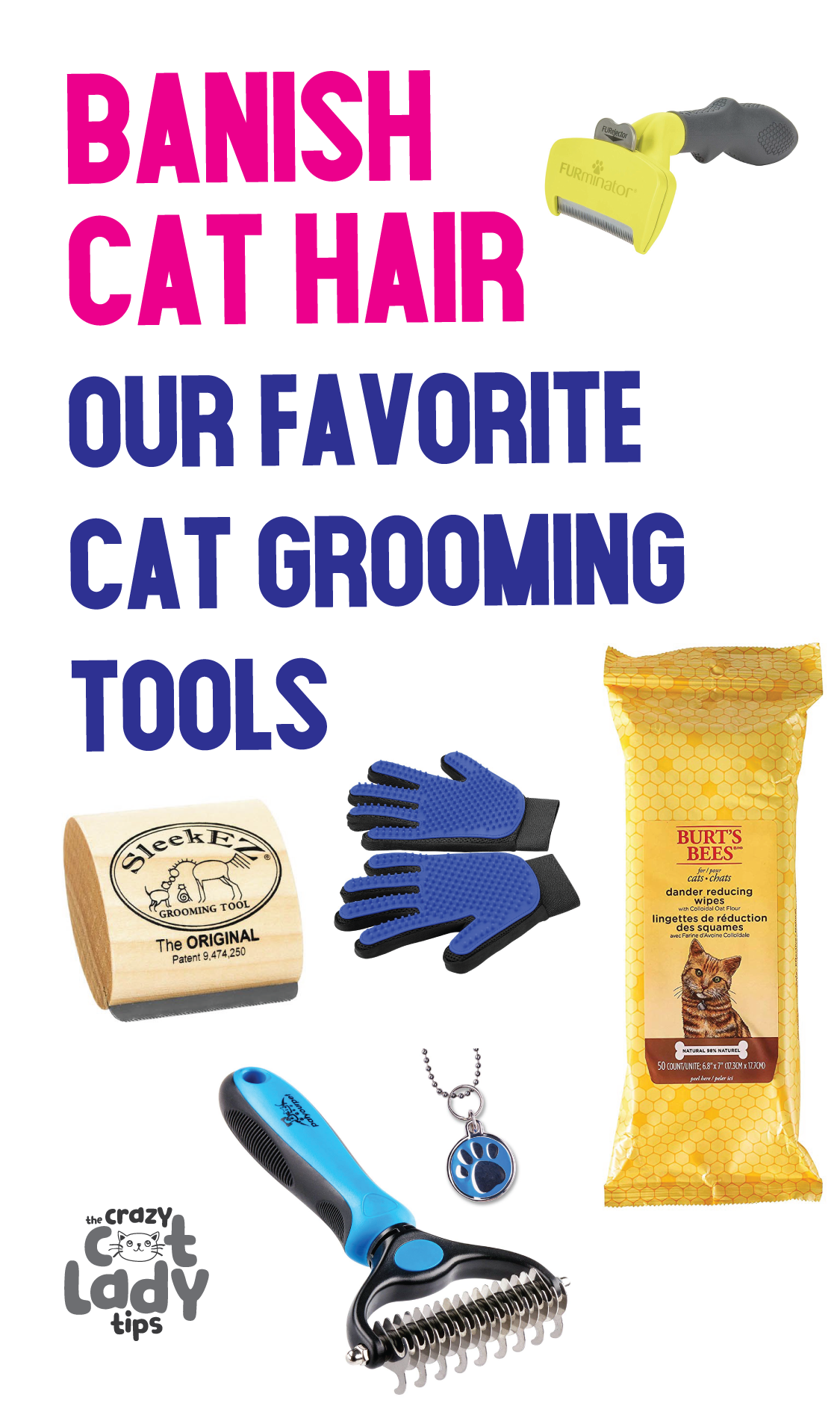 Banish cat hair for good with these best cat grooming tools! #catowner #cathair #catbrush